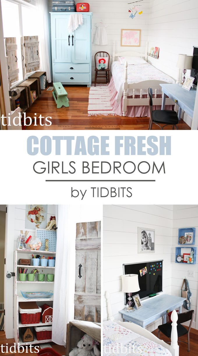 Cottage fresh girls bedroom - full of charm, unique finds, and DIY's.  Designed by TIDBITS.