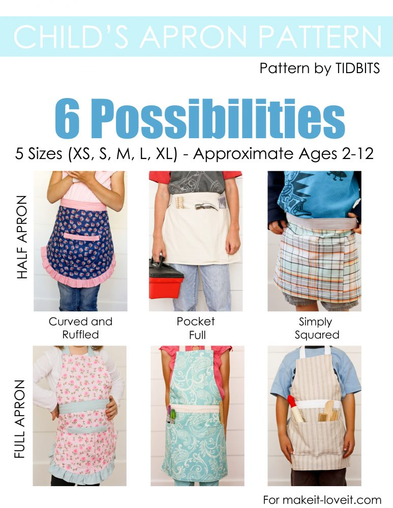Child's Apron Pattern, PDF Download. Includes 5 sizes and 6 possibilities!