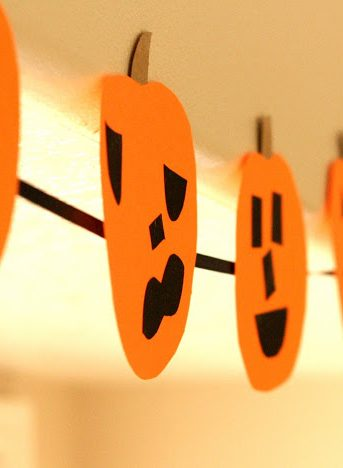pumpkin banner, Halloween, kids craft