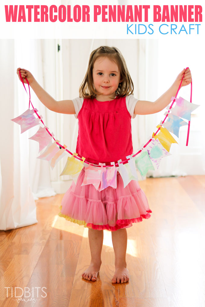 Watercolor Pennant Banner, Kids Craft