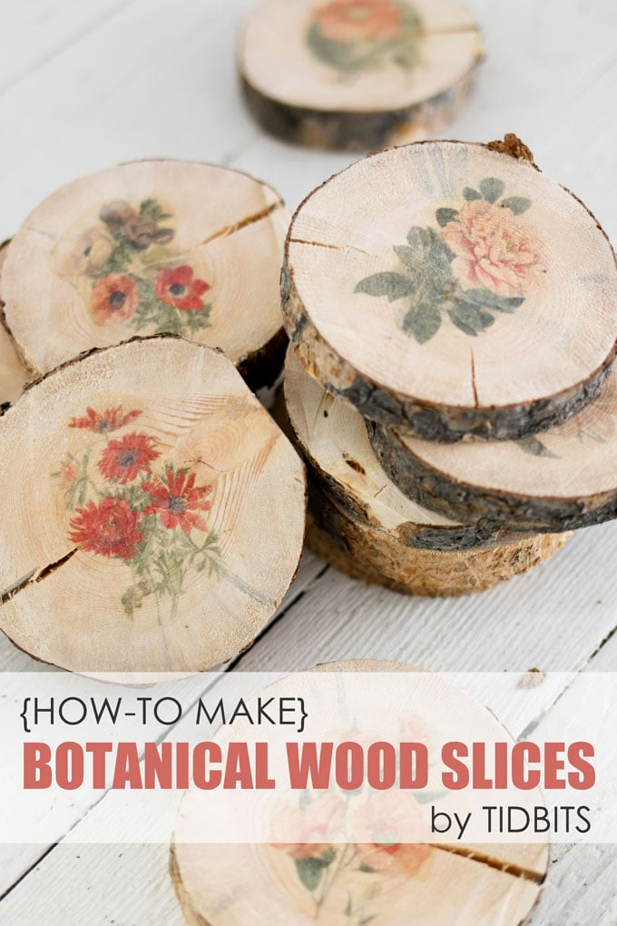 Botanical Wood Slices Tutorial Easy DIY Image Transfer Method