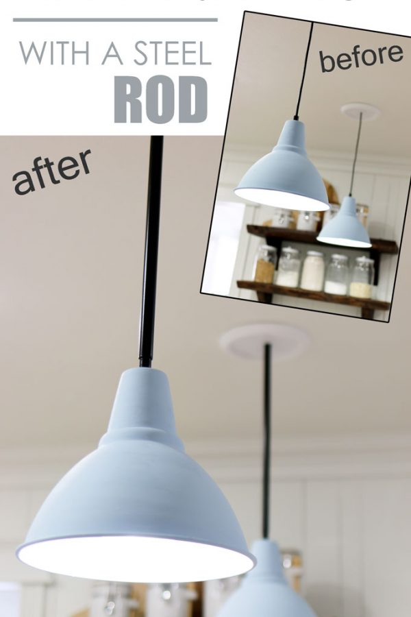 Upgrade a pendant light fixture with a steel rod