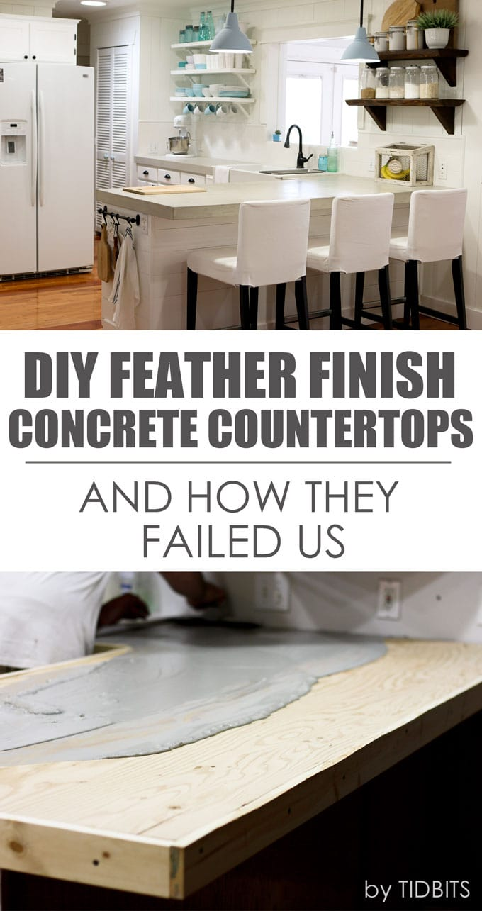 DIY Feather finish concrete countertops - and how they failed us.