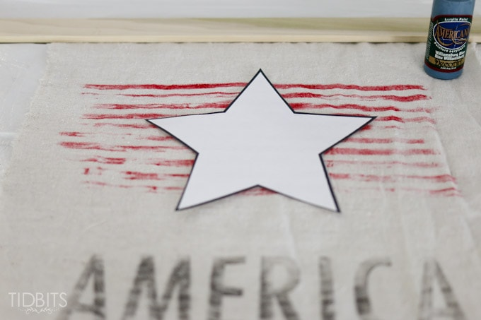 Patriotic Vintage Garden Flag tutorial, featuring a ink transfer technique.