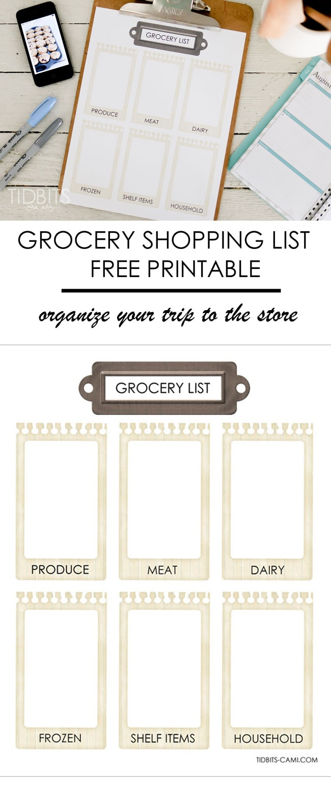 Grocery shopping list printable - perfect for organizing your trips to the store.