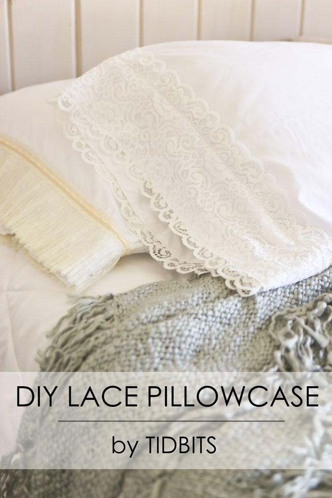 DIY Lace Pillowcase | Add charm to plain white pillowcase.