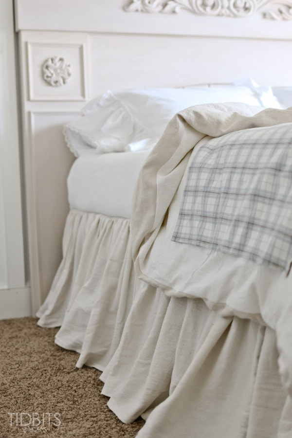 Diy Gathered Bed Skirt From A Drop Cloth Tidbits