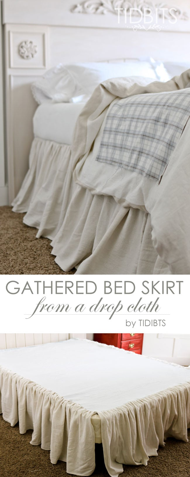 Gathered Bed Skirt Made From A Drop Cloth Or Any Fabric Of