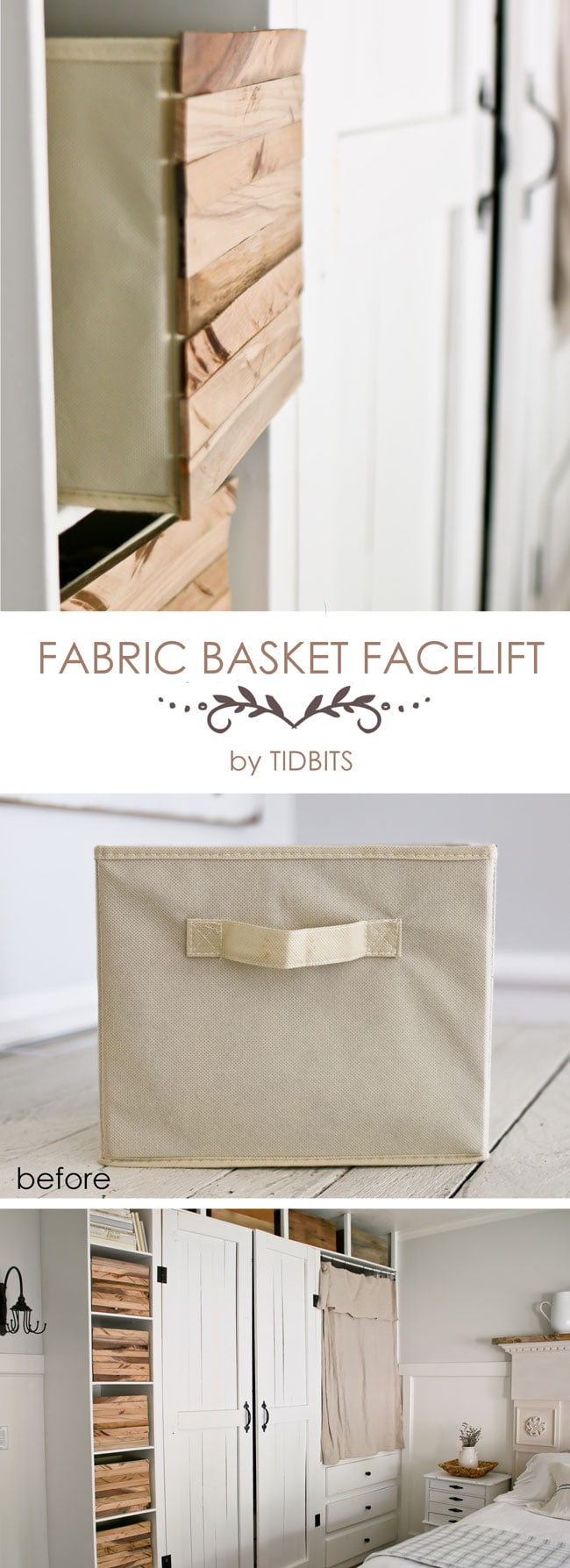 Fabric Basket Facelift! Take a plain, inexpensive fabric basket and liven it up with lovely wood pieces for one-of-a-kind storage. Tutorial available.