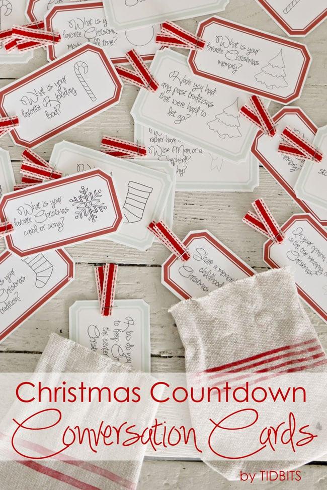 Christmas Countdown Conversation Cards Free Printable