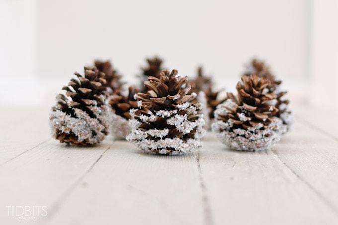 DIY Snow Covered Pinecones