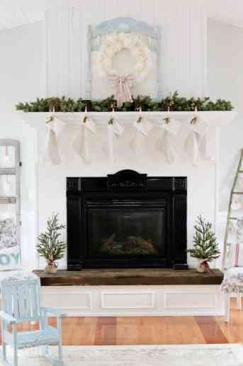 Cottage Christmas Mantel + Fireplace Before and After