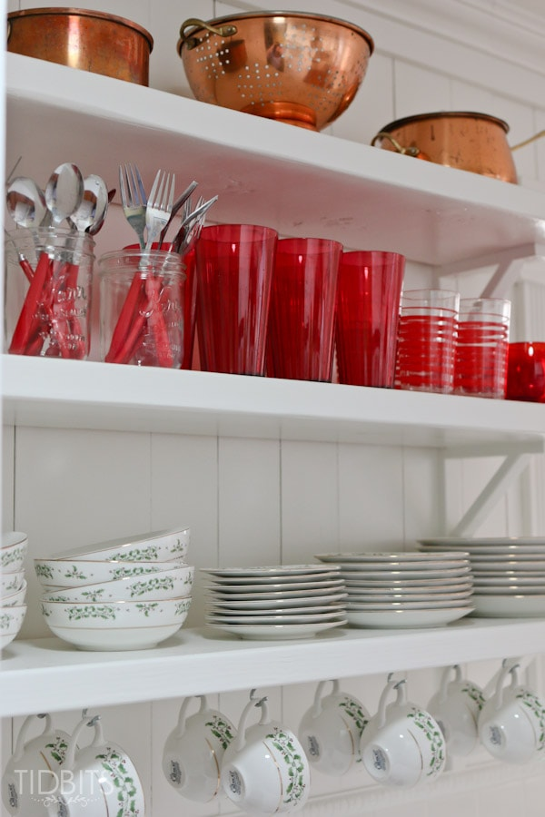 A Cottage Christmas Home Tour - Touches of red and Holiday cheer added to a Kitchen.