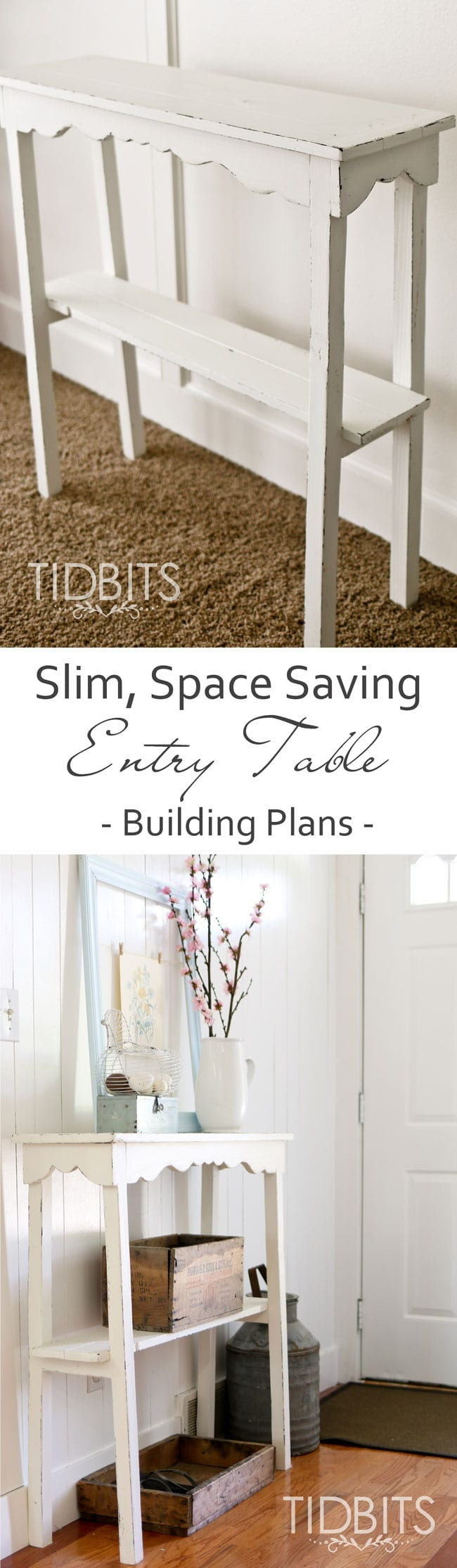 Super slim, space saving entry table building plans. Perfect for small areas and to add touches of seasonal decor.