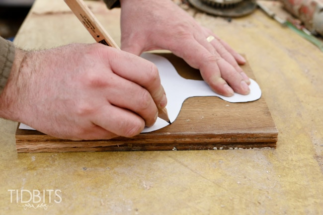 """How to make an """"antique"""" cutting board. Carve unique shapes into old wood for a charming cutting board with a vintage look."""