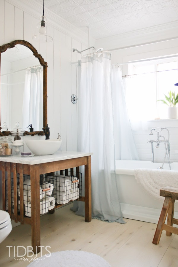 Cottage Bathroom Reveal Tidbits - How to gut a bathroom