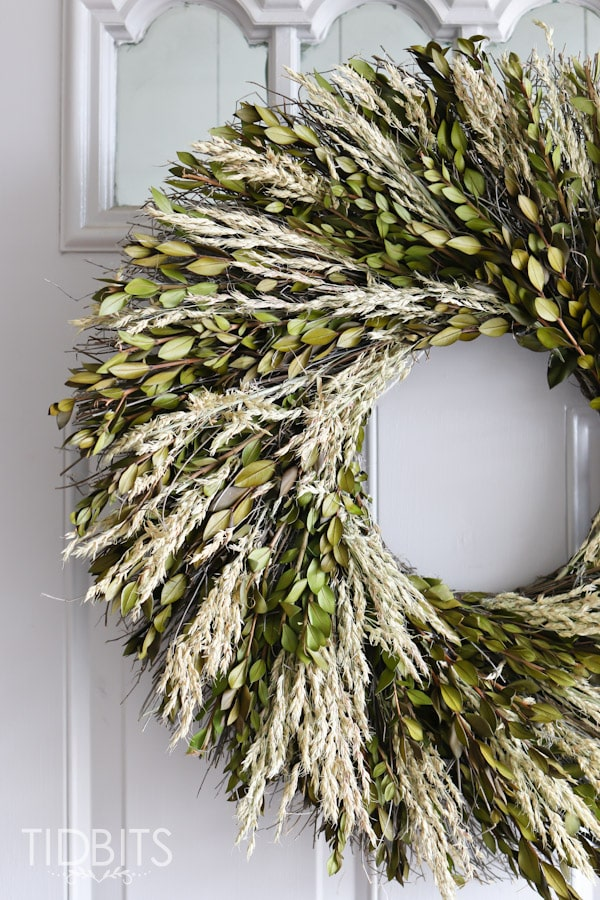 Spring Home Tour by TIDBITS - Preserved boxwood wreath.