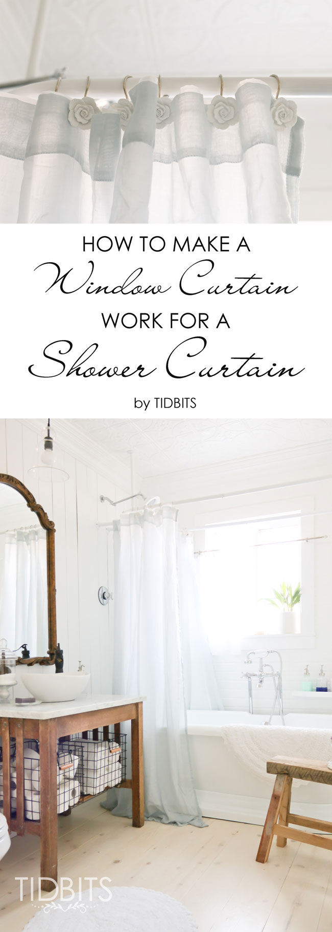 How to make a window curtain work for a shower curtain. Don't limit yourself to the bath section!
