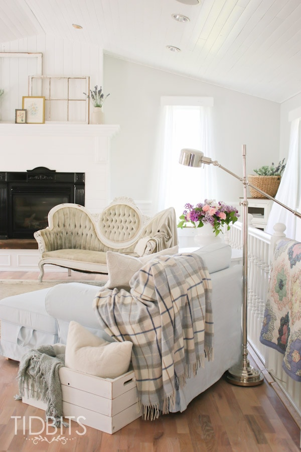 Living room update white cottage style tidbits for Cottage style family room