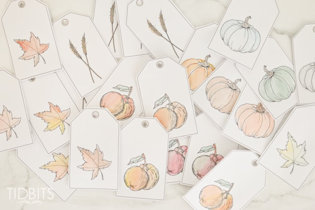 picture about Free Fall Printable named Tumble Printable Watercolor Tags - Tidbits