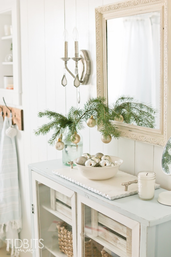 French Farmhouse Christmas Home Tour. Christmas in the Master Bathroom.