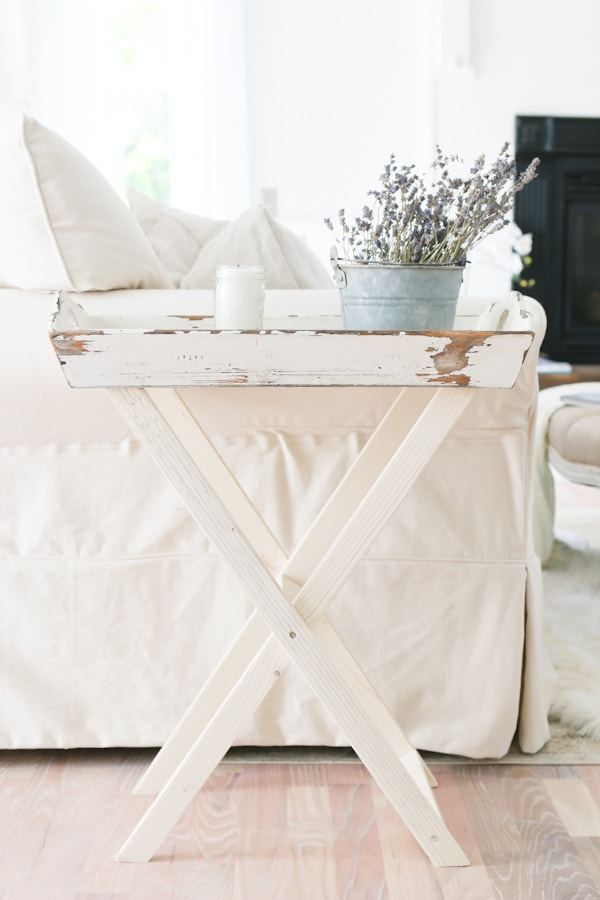 Add character with a DIY tray turned side table