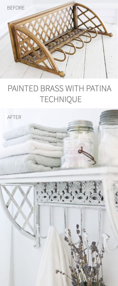 Painted Brass with Patina Technique | Thrift Store Shelf for Bathroom