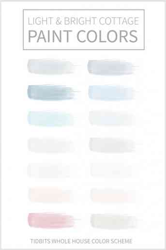 Light and Bright Cottage Paint Colors | TIDBITS whole house color scheme and paint names.
