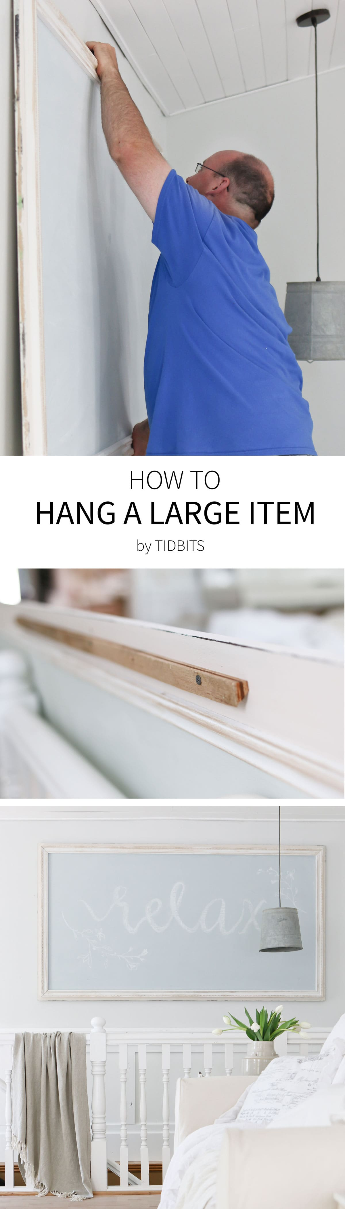 How to hang a large item on the wall.