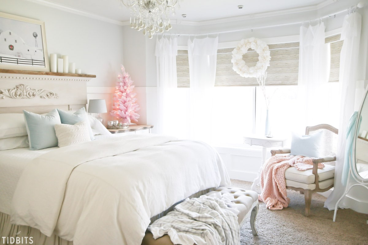 A colorful Christmas master bedroom.