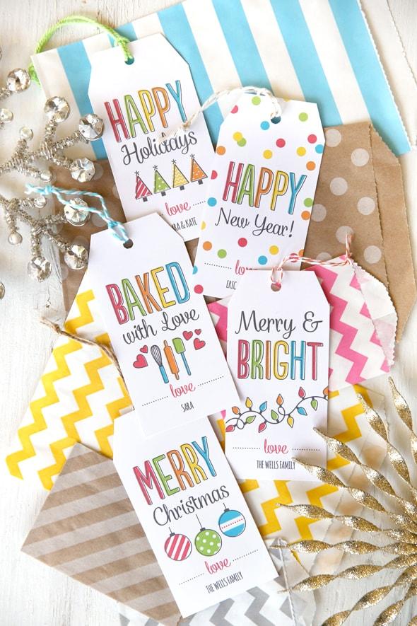 Free colorful christmas gift tags