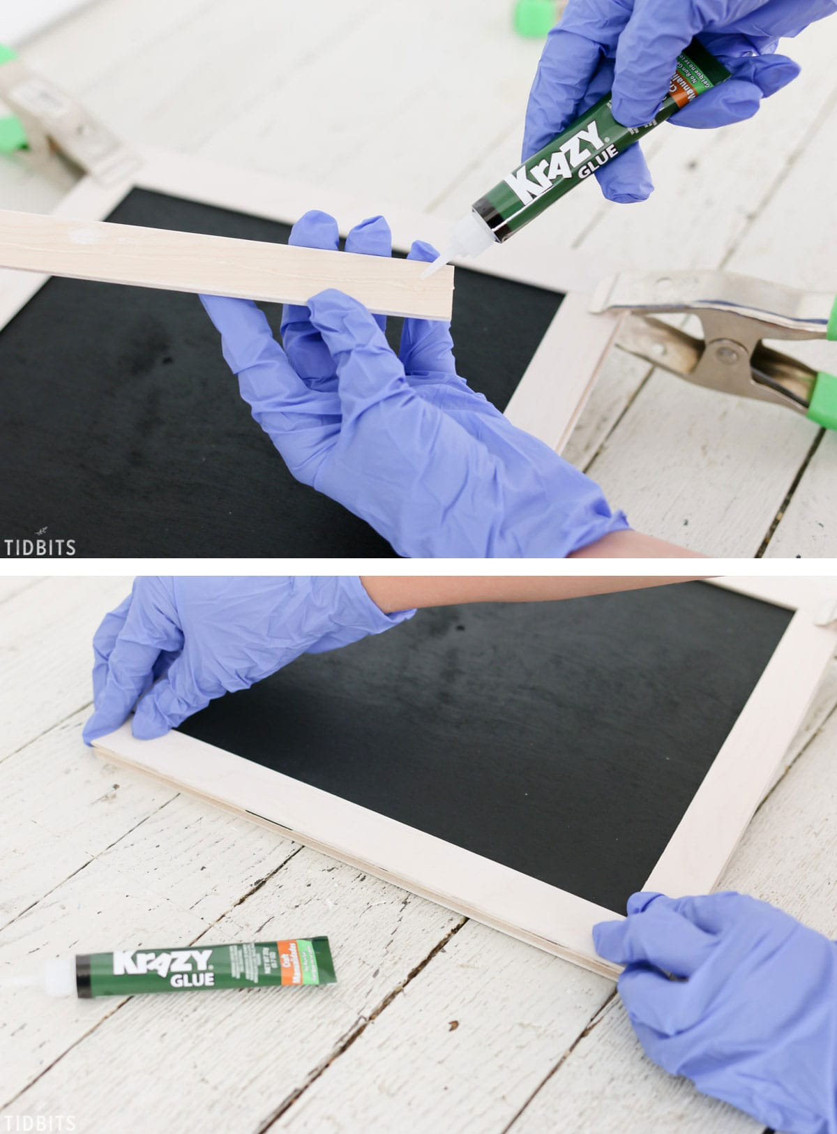 Easy DIY reversible mini chalkboard and whiteboard, by TIDBITS.