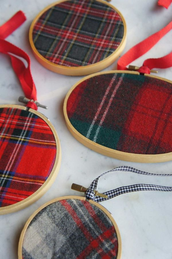 plaid felt ornaments