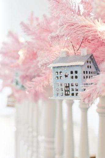 DIY Paper Mache Glitter Putz House