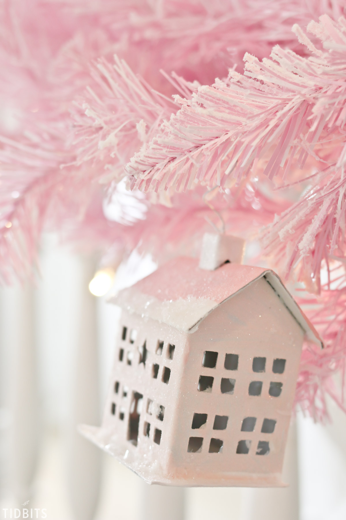 DIY Paper Mache Glitter Putz House or Village, by TIDBITS.