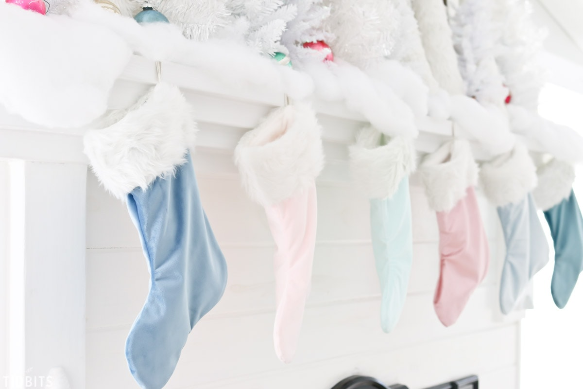 DIY Velvet Stockings made from pillow covers, by TIDBITS.