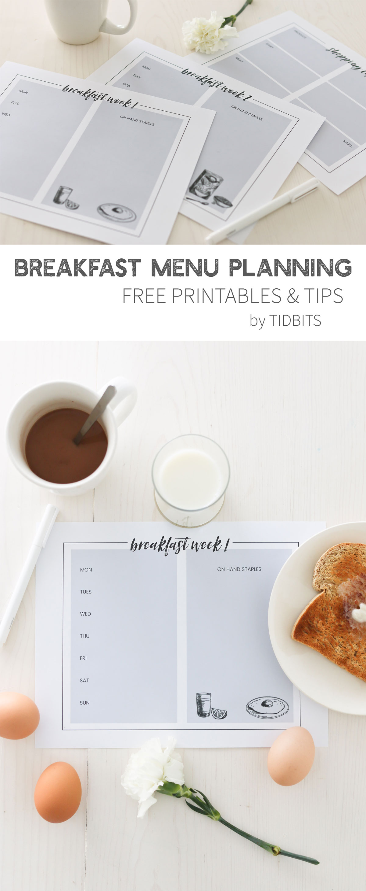 Breakfast Menu Planning Printables and Tips. Start the day off right!