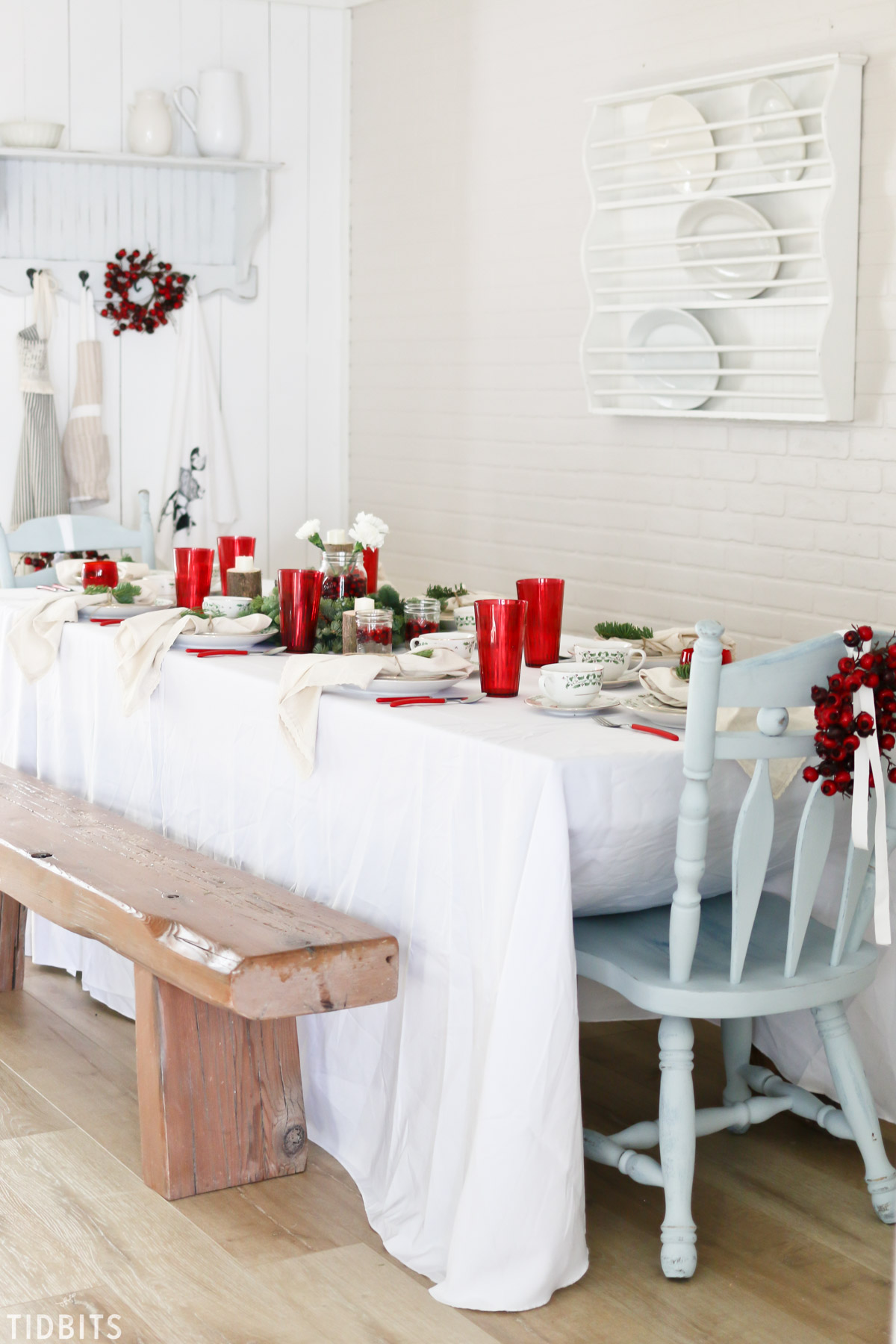A Classic red and green Christmas tablescape.