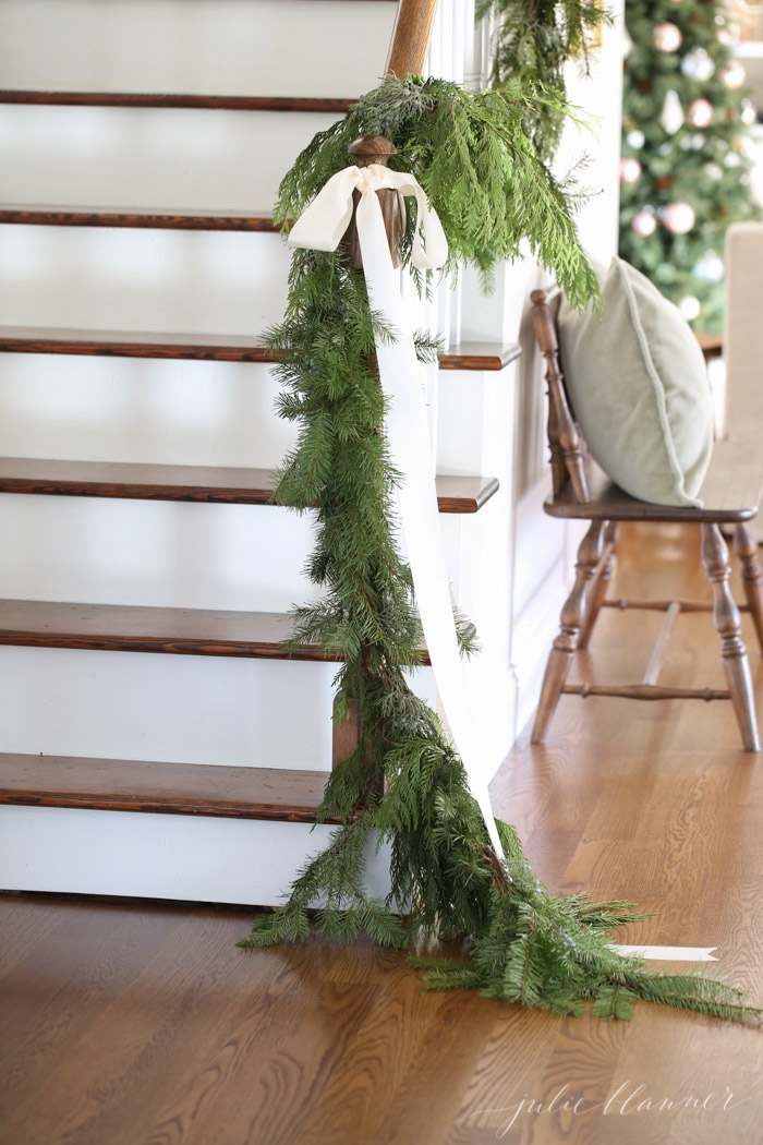 Garland on stairs, traditional Christmas.