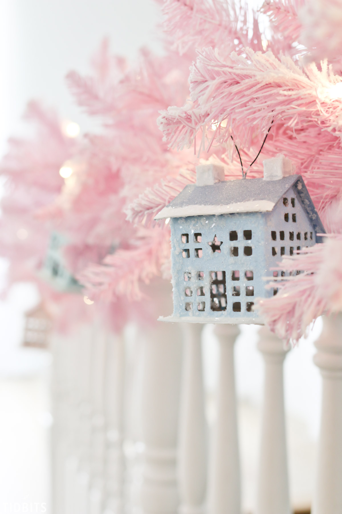 DIY Thrifted and Upcycled Glitter Putz Houses, by TIDBITS