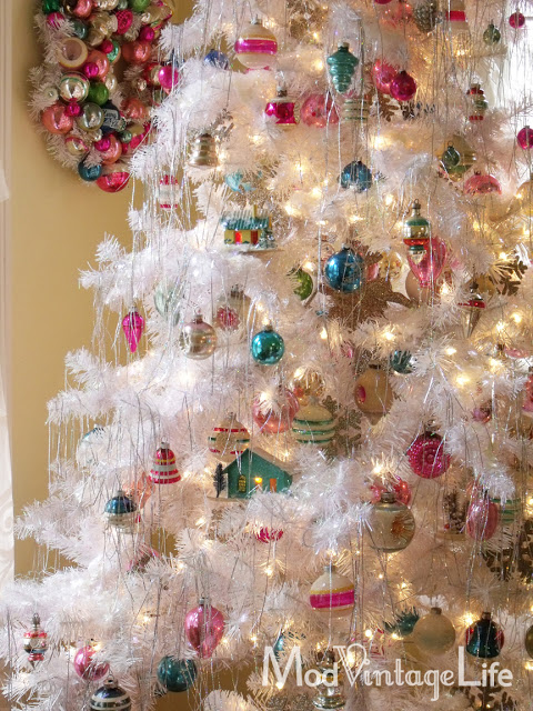 White tree, vintage ornaments
