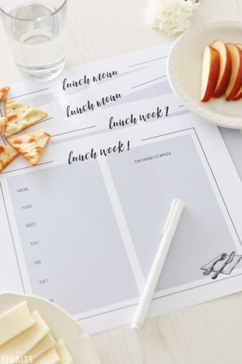 Lunch menu planning printables.