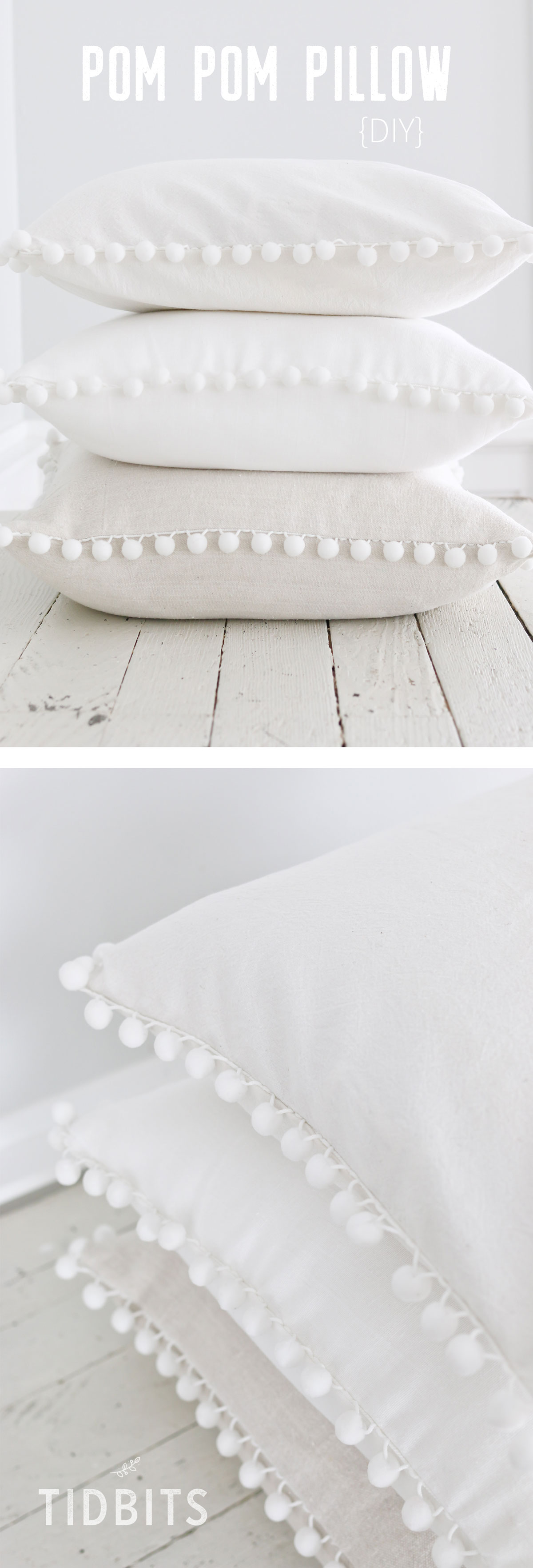 DIY Pom Pom Pillow - fun and easy sewing project!