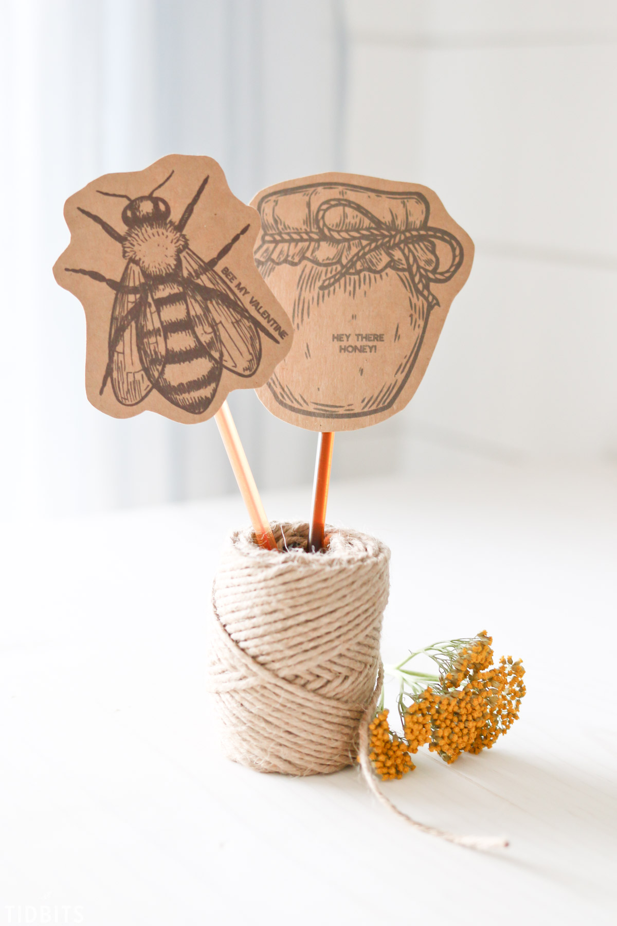 Honey Stick Valentines Printables by TIDBITS