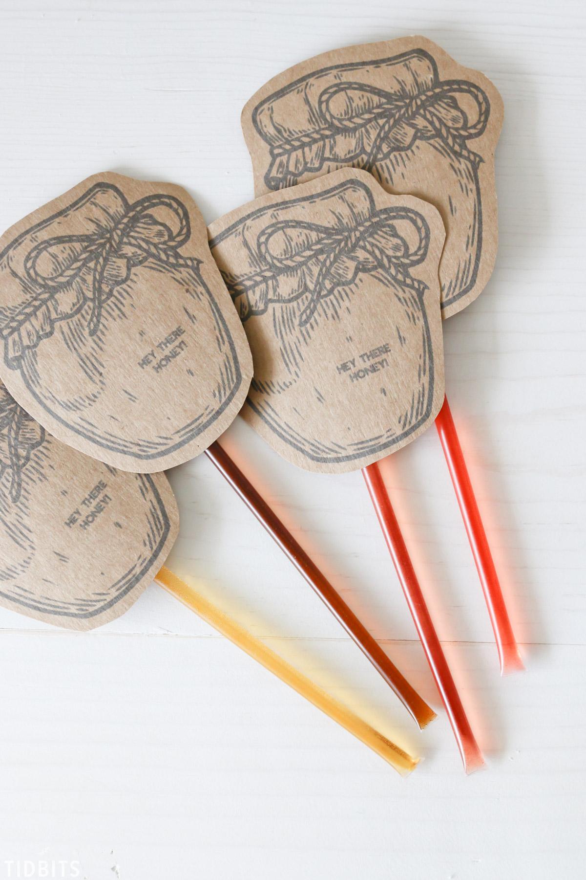 Honey Stick Valentines Printables by TIDBITS