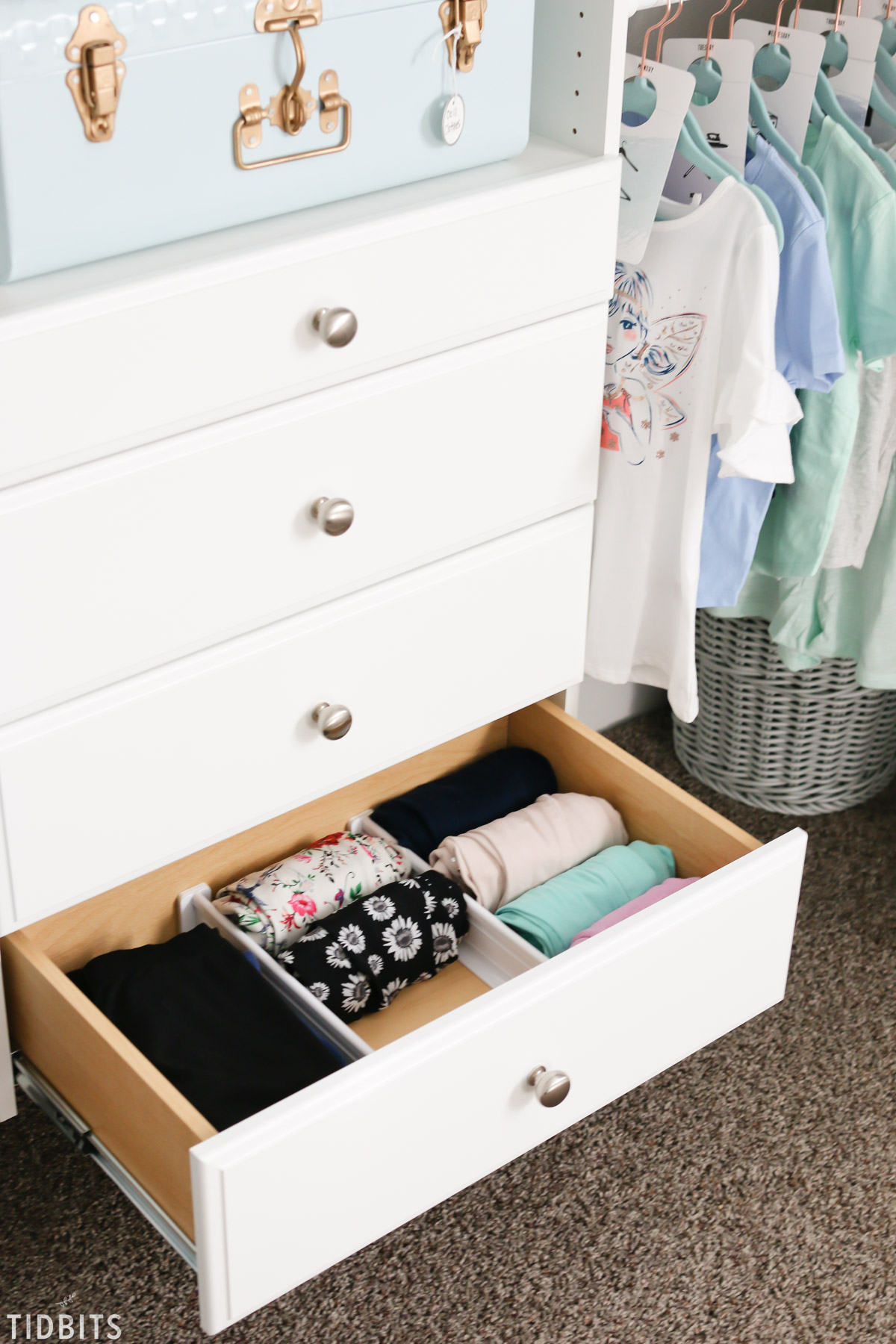 drawer organization in kids closet