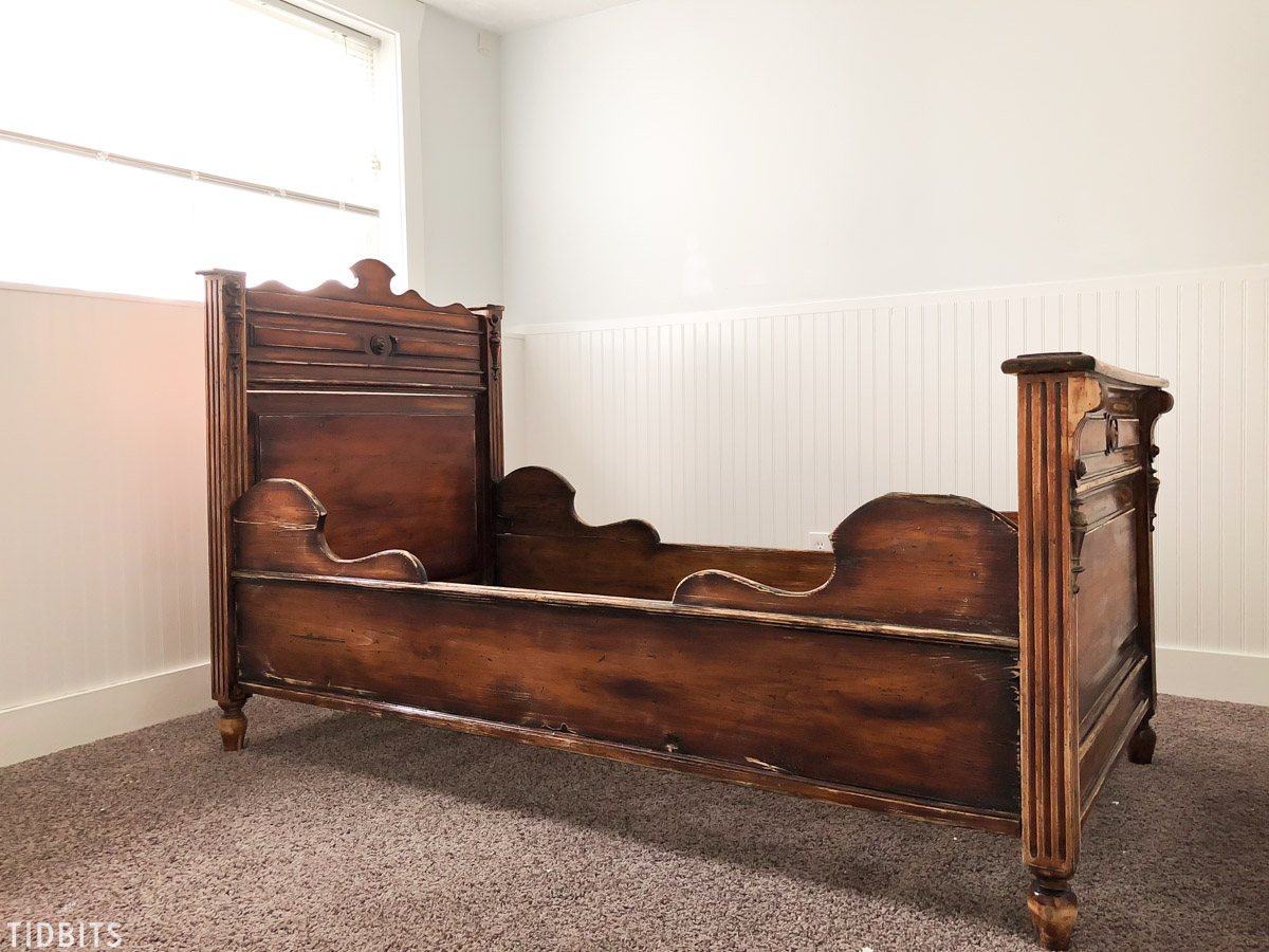 Painted Antique German Sleigh Bed - Before