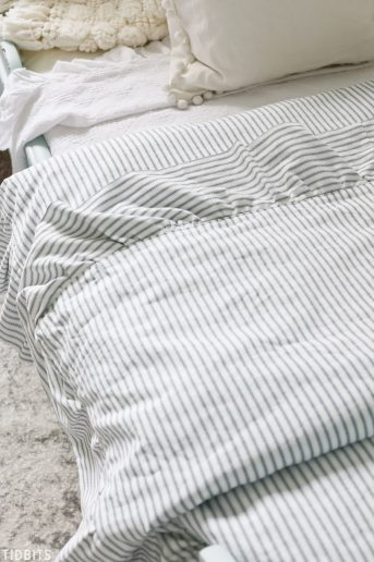 DIY Ruffled Duvet Cover, Ticking fabric