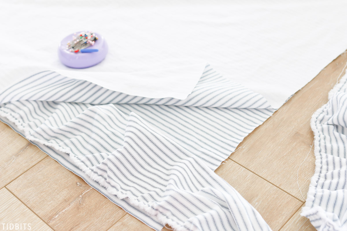 DIY Ruffled Duvet Cover Ticking Fabric