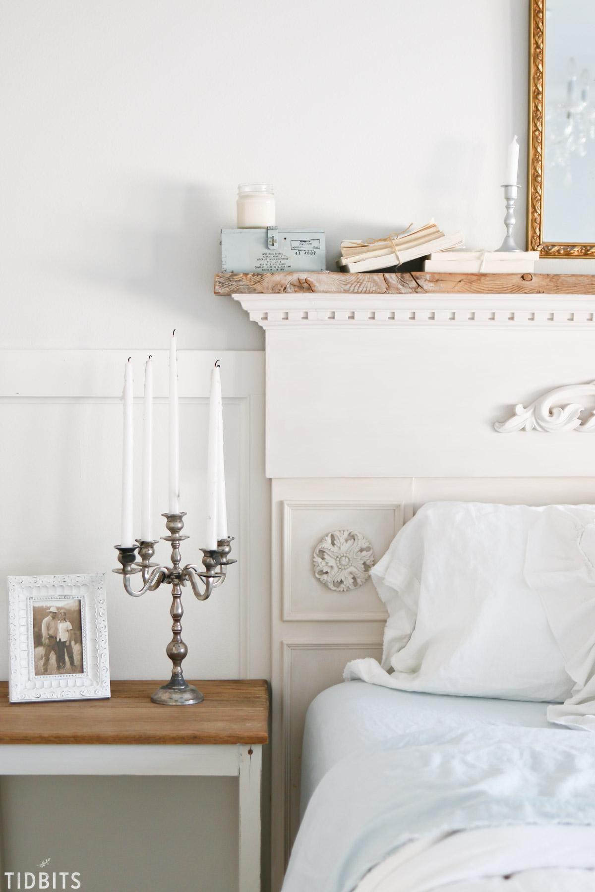 Vintage candelabra on bedside table